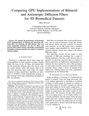 Primary view of object titled 'Comparing GPU Implementations of Bilateral and Anisotropic Diffusion Filters for 3D Biomedical Datasets'.