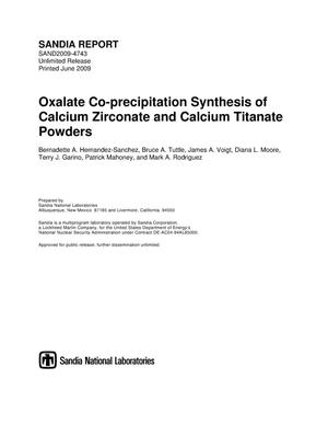 Primary view of object titled 'Oxalate co-precipitation synthesis of calcium zirconate and calcium titanate powders.'.