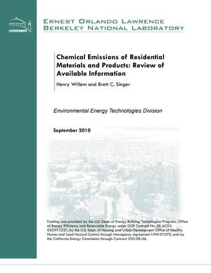 Primary view of object titled 'Chemical Emissions of Residential Materials and Products: Review of Available Information'.