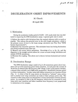 Primary view of object titled 'Deceleration Orbit Improvements'.