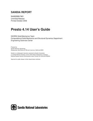 Primary view of object titled 'Presto 4.14 user<U+2019>s guide.'.