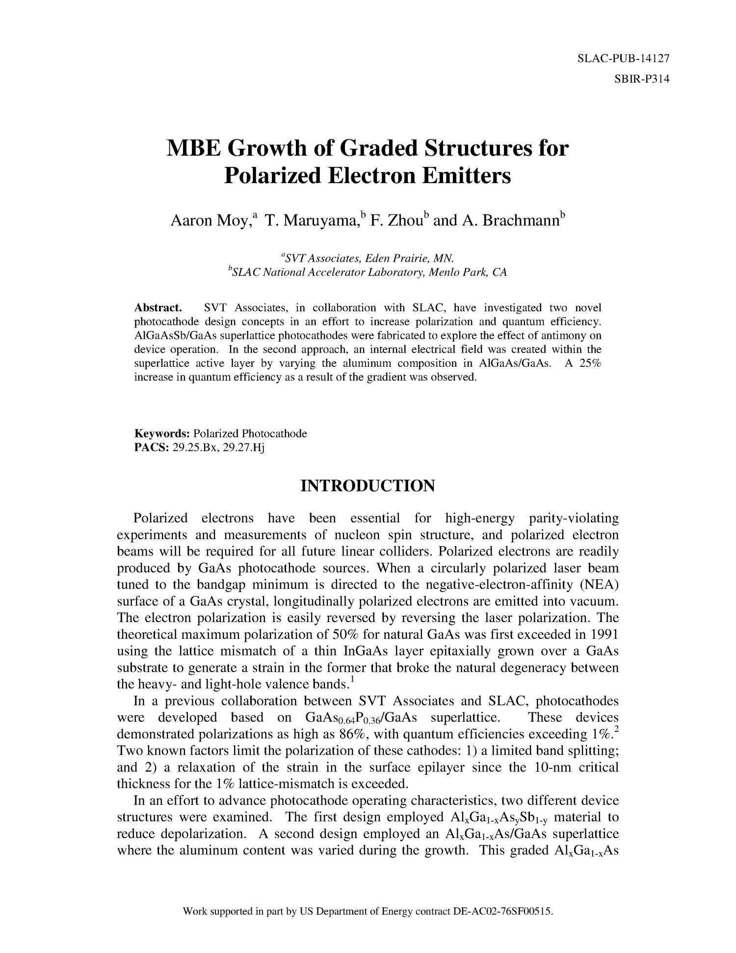 MBE Growth of Graded Structures for Polarized Electron Emitters                                                                                                      [Sequence #]: 1 of 10