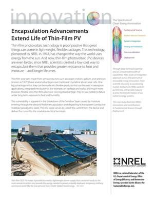 Primary view of object titled 'Encapsulation Advancements Extend Life of Thin-Film PV; The Spectrum of Clean Energy Innovation (Fact Sheet)'.