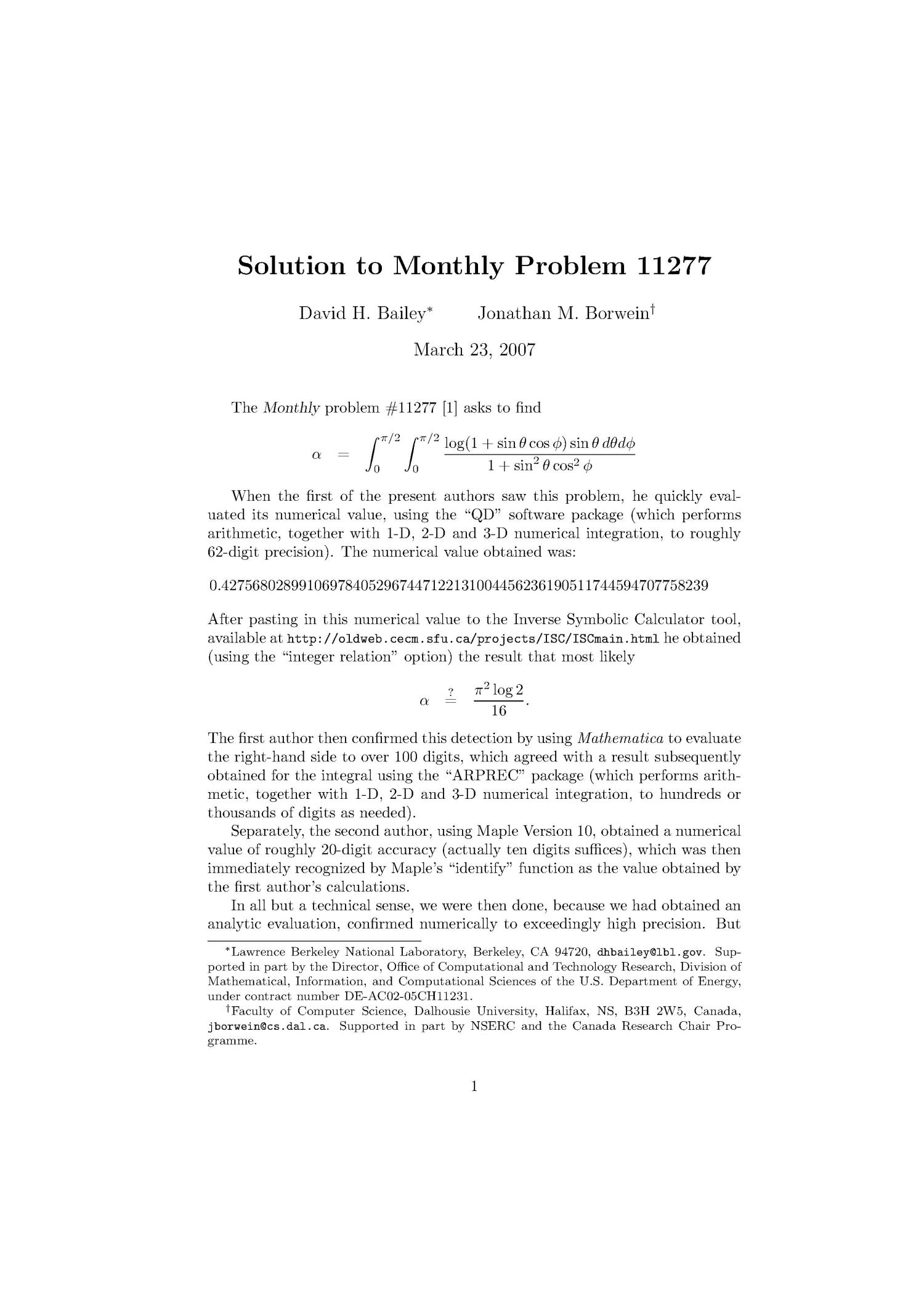 Solution to Monthly Problem 11277                                                                                                      [Sequence #]: 1 of 3