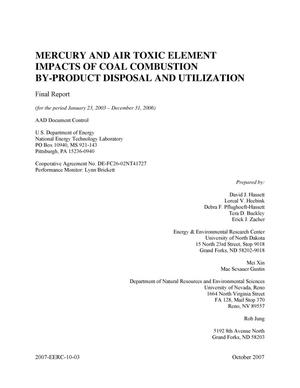 Primary view of object titled 'Mercury and Air Toxic Element Impacts of Coal Combustion By-Product Disposal and Utilizaton'.