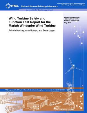 Primary view of object titled 'Wind Turbine Safety and Function Test Report for the Mariah Windspire Wind Turbine'.