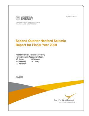 Primary view of object titled 'Second Quarter Hanford Seismic Report for Fiscal Year 2009'.