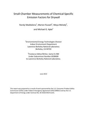Primary view of object titled 'Small-Chamber Measurements of Chemical-Specific Emission Factors for Drywall'.