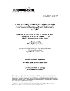 Primary view of object titled 'A new possibility of low-Z gas stripper for high power uranium beam acceleration alternative to C-foil'.