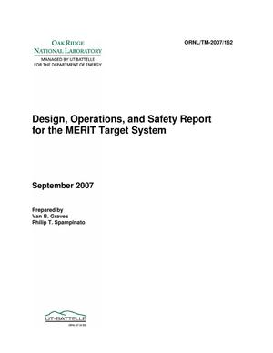 Primary view of object titled 'Design, Operations, and Safety Report for the MERIT Target System'.