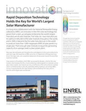 Primary view of object titled 'Rapid Deposition Technology Holds the Key for the World's Largest Solar Manufacturer (Fact Sheet)'.