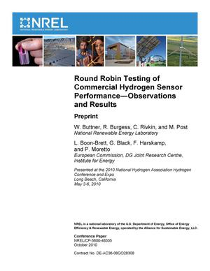 Primary view of object titled 'Round Robin Testing of Commercial Hydrogen Sensor Performance--Observations and Results: Preprint'.