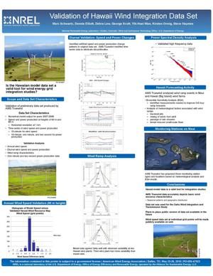 Primary view of object titled 'Validation of Hawaii Wind Integration Data Set, NREL (National Renewable Energy Laboratory) (Poster)'.