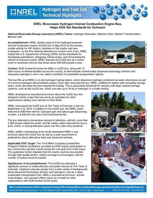 Primary view of object titled 'NREL Showcases Hydrogen Internal Combustion Engine Bus, Helps DOE Set Standards for Outreach (Fact Sheet)'.