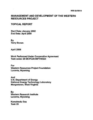 Primary view of object titled 'Management and Development of the Western Resources Project'.