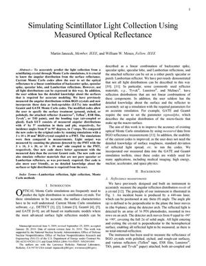Primary view of object titled 'Simulating Scintillator Light Collection Using Measured Optical Reflectance'.