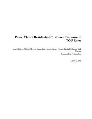 Primary view of object titled 'PowerChoice Residential Customer Response to TOU Rates'.