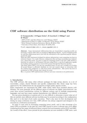 Primary view of object titled 'CDF software distribution on the grid using Parrot'.