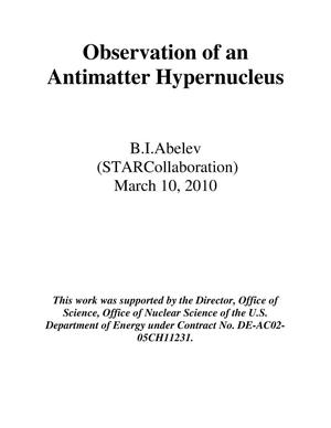 Primary view of object titled 'Observation of an Antimatter Hypernucleus'.