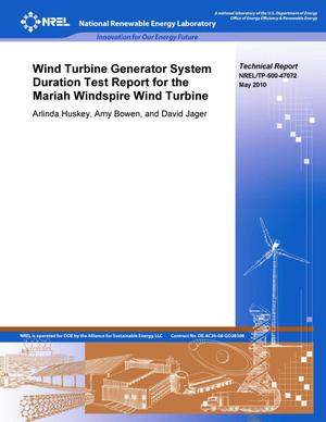 Primary view of object titled 'Wind Turbine Generator System Duration Test Report for the Mariah Power Windspire Wind Turbine'.