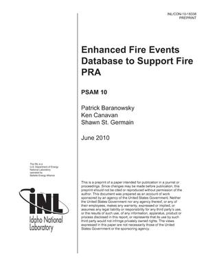 Primary view of object titled 'Enhanced Fire Events Database to Support Fire PRA'.