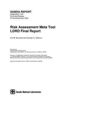 Primary view of object titled 'Risk assessment meta tool LDRD final report.'.