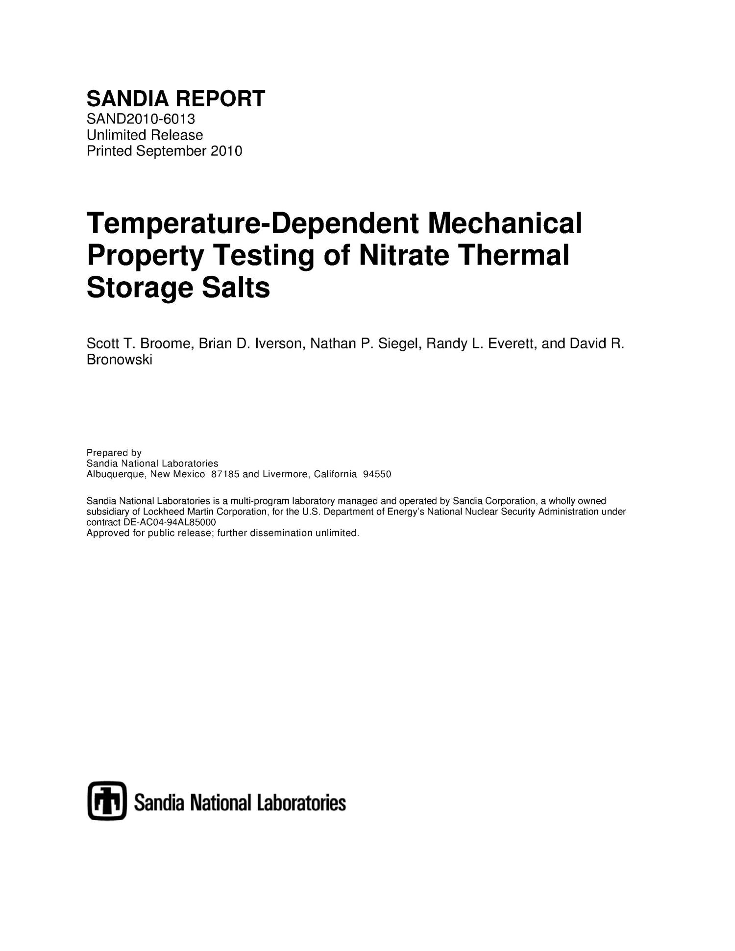 Temperature-dependent mechanical property testing of nitrate thermal storage salts.                                                                                                      [Sequence #]: 1 of 35