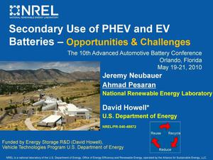 Primary view of object titled 'Secondary Use of PHEV and EV Batteries: Opportunities & Challenges (Presentation)'.