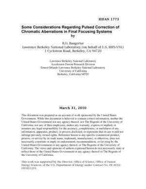 Primary view of object titled 'Some Considerations Regarding Pulsed Correction of Chromatic Aberrations in Final Focusing Systems'.
