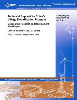 Primary view of object titled 'Technical Support for China's Village Electrification Program: Cooperative Research and Development Final Report, CRADA number CRD-07-00235'.