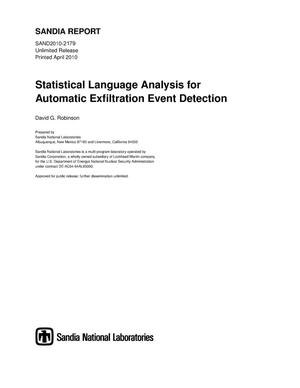 Primary view of object titled 'Statistical language analysis for automatic exfiltration event detection.'.
