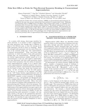 Primary view of object titled 'Polar Kerr Effect as Probe for Time-Reversal Symmetry Breaking in Unconventional Superconductors'.