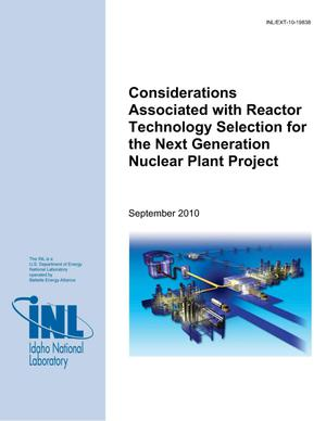 Primary view of object titled 'Considerations Associated with Reactor Technology Selection for the Next Generation Nuclear Plant Project'.