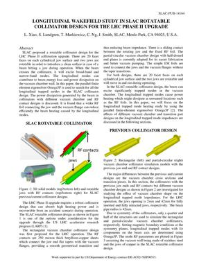 Primary view of object titled 'Longitudinal Wakefield Study in SLAC Rotatable Collimator Design for the LHC Phase II Upgrade'.