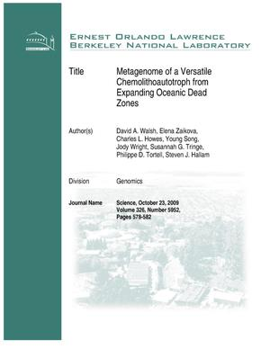 Primary view of object titled 'Metagenome of a Versatile Chemolithoautotroph from Expanding Oceanic Dead Zones'.