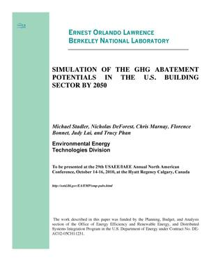 Primary view of object titled 'Simulation of the GHG Abatement Potentials in the U.S. Building Sector by 2050'.
