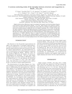 Primary view of object titled 'A neutron scattering study of the interplay between structure and magnetism in Ba(Fe1&#8722xCox)2As2'.