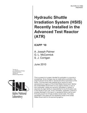 Primary view of object titled 'Hydraulic Shuttle Irradiation System (HSIS) Recently Installed in the Advanced Test Reactor (ATR)'.