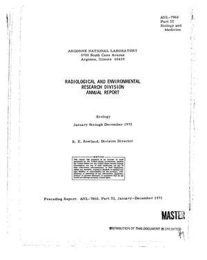 Primary view of Radiological and Environmental Research Division annual report, January-- December 1972