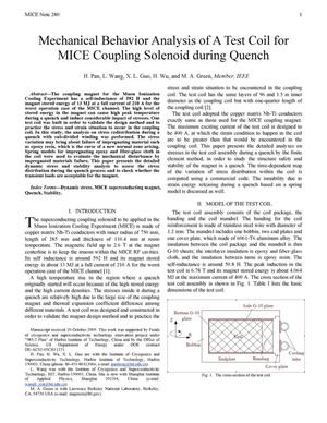 Primary view of object titled 'Mechanical Behavior Analysis of a Test Coil for MICE Coupling Solenoid during Quench'.