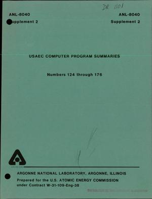 Primary view of object titled 'USAEC computer program summaries. Numbers 124 through 176'.