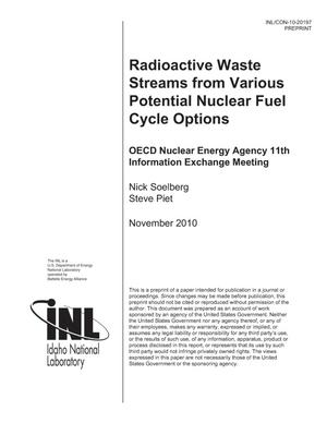 Primary view of object titled 'RADIOACTIVE WASTE STREAMS FROM VARIOUS POTENTIAL NUCLEAR FUEL CYCLE OPTIONS'.
