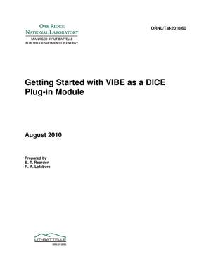 Primary view of object titled 'Getting Started with VIBE as a DICE Plug-in Module'.