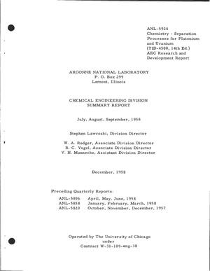 Primary view of object titled 'CHEMICAL ENGINEERING DIVISION SUMMARY REPORT FOR JULY, AUGUST, SEPTEMBER 1958'.