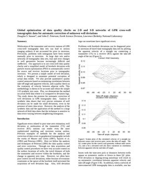 Primary view of object titled 'Global optimization of data quality checks on 2-D and 3-D networks of GPR cross-well tomographic data for automatic correction of unknown well deviations'.