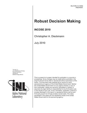 Primary view of object titled 'Robust Decision Making'.
