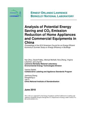 Primary view of object titled 'Analysis of Potential Energy Saving and CO2 Emission Reduction of Home Appliances and Commercial Equipments in China'.