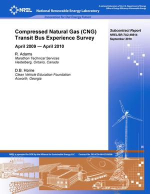 Primary view of object titled 'Compressed Natural Gas (CNG) Transit Bus Experience Survey: April 2009--April 2010'.
