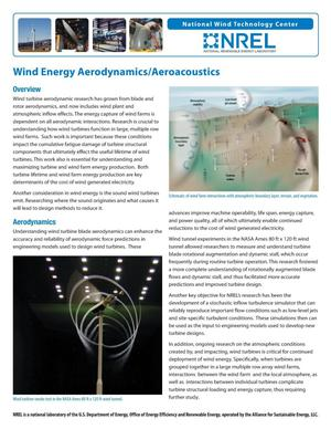Primary view of object titled 'Wind Energy Aerodynamics/Aeroacoustics (Fact Sheet)'.