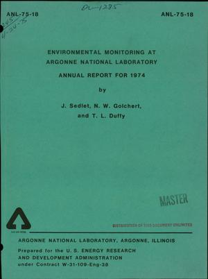Primary view of object titled 'Environmental monitoring at Argonne National Laboratory. Annual report for 1974'.